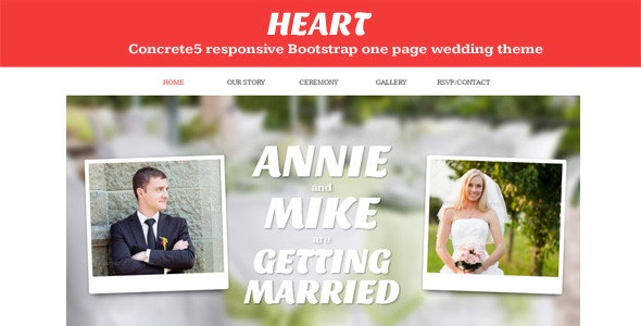 Heart - Concrete5 One Page Wedding Theme - Events Entertainment
