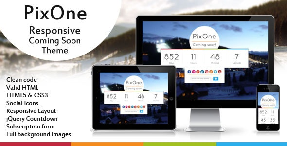 Pixone Responsive Coming Soon Theme - Under Construction Specialty Pages