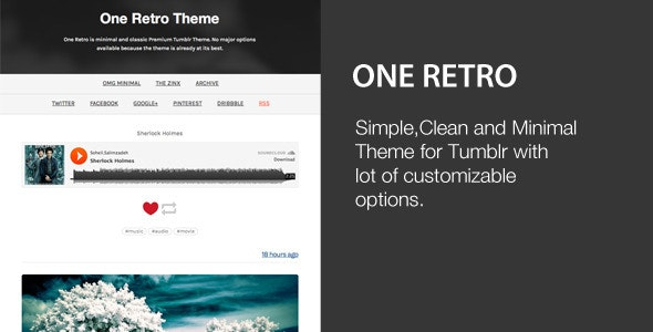 One Retro - Responsive and Minimal Theme - Tumblr Blogging