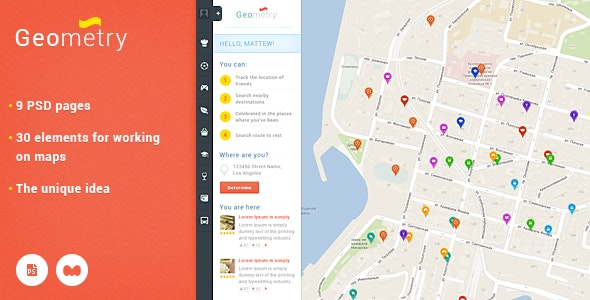 GeoMetry - design for geolocation social networkr - Photoshop UI Templates
