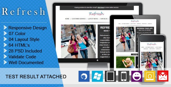 Refresh - Responsive and Business Email Template - Email Templates Marketing