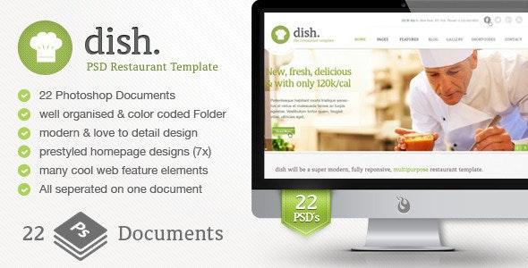 Dish Multipurpose PSD Restaurant Template - Restaurants & Cafes Entertainment