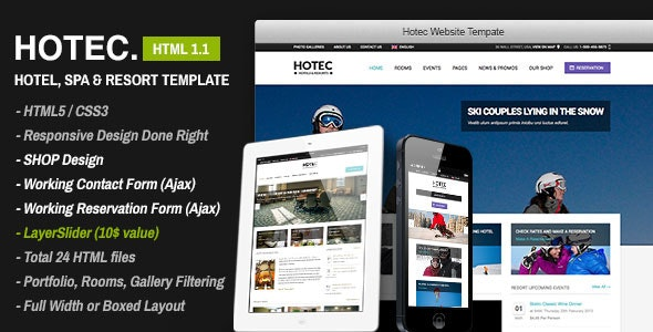 Hotec - Responsive Hotel, Spa & Resort Template - Travel Retail