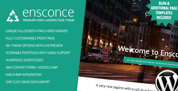 Ensconce - Responsive WordPress Video Landing Page - Entertainment WordPress