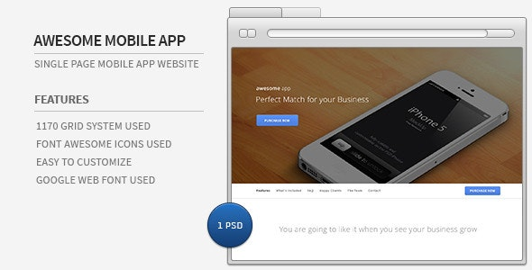 Awesome Mobile App - Single Page PSD Template - Business Corporate