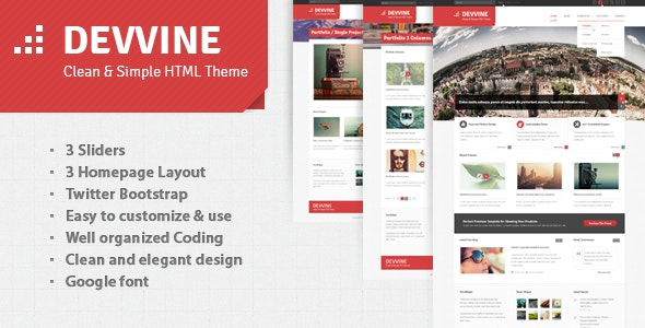 Devvine - Modern & Clean Responsive Site Template - Business Corporate