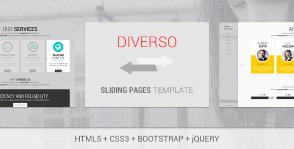 Diverso - Bootstrap Responsive Sliding Pages - Creative Site Templates
