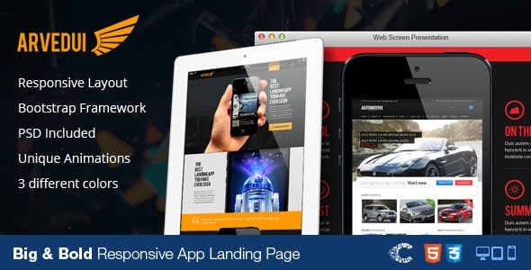 Arvedui - Big Responsive Landing Page Template - Apps Technology