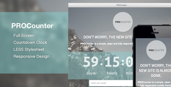 PROCount: Countdown Landing Page - Under Construction Specialty Pages