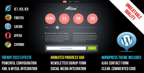 ALIVE Under Construction Template and WP Theme - Under Construction Specialty Pages