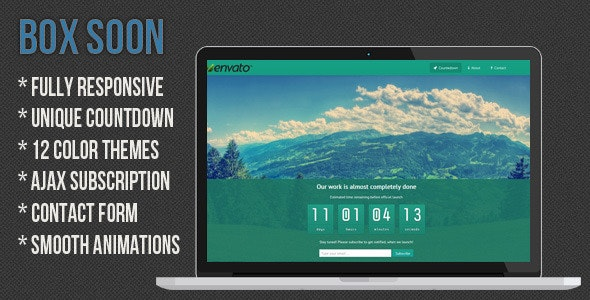 BoxSoon - Responsive Coming Soon Page - Under Construction Specialty Pages