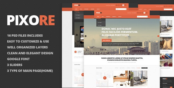 Pixore - clean and modern PSD template - Corporate Photoshop
