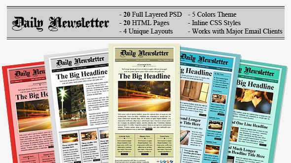 Daily Newsletter HTML Email Template - Email Templates Marketing