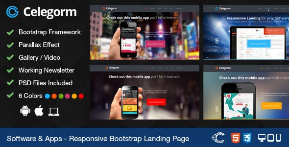 Celegorm Software/App Bootstrap Landing Page
