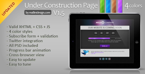 Under construction page - Coming Soon template - Under Construction Specialty Pages