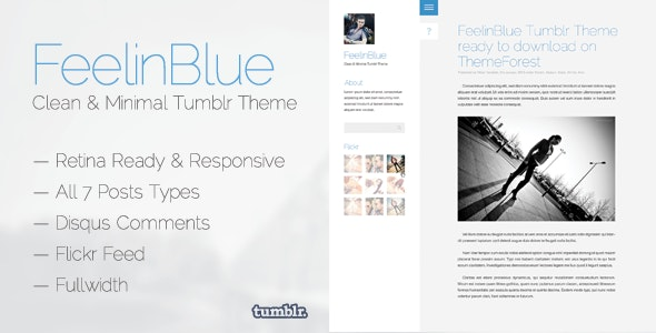 FeelinBlue - Clean Tumblr Blogging Theme - Blog Tumblr