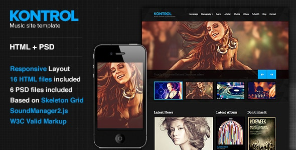Kontrol - Music Site Template - Music and Bands Entertainment