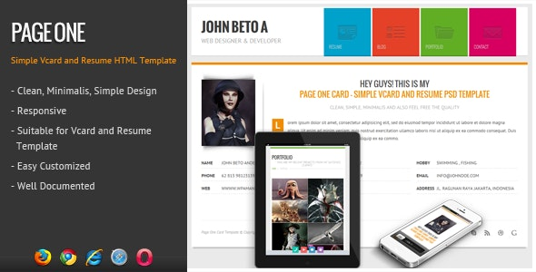 Page One - Responsive Vcard Resume HTML Template - Virtual Business Card Personal