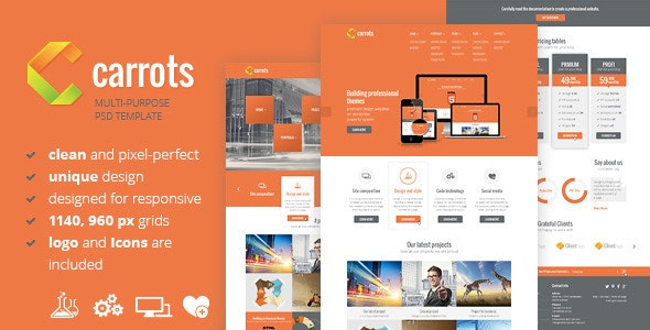 Carrots - PSD Template - Corporate Photoshop