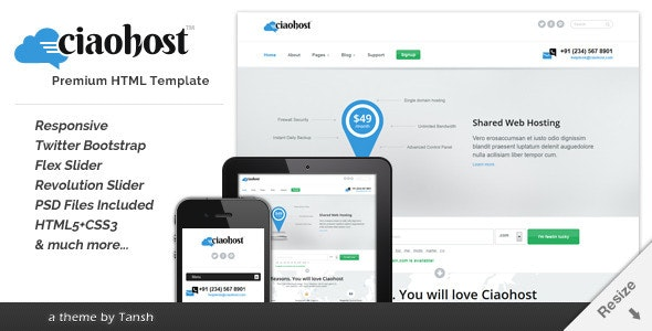 Ciaohost Responsive Hosting  HTML Template - Hosting Technology