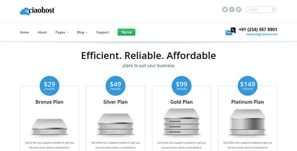 Ciaohost Responsive Hosting  HTML Template
