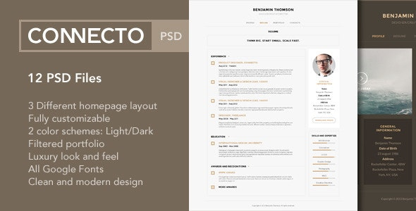 Connecto – Modern vCard Resume PSD Template - Virtual Business Card Personal