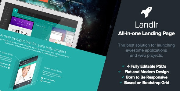 Landlr - The All-in-One Landing Page - Flat Design - Marketing Corporate