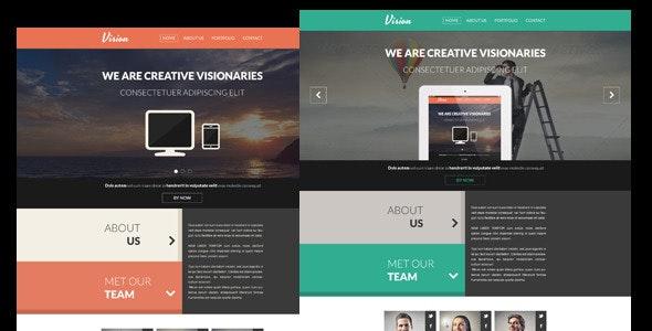 Vision - Flat One Page PSD Portfolio Template - Creative Photoshop