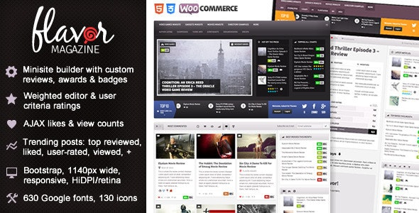 Flavor - Responsive/HD Magazine/Review AJAX Theme - Blog / Magazine WordPress