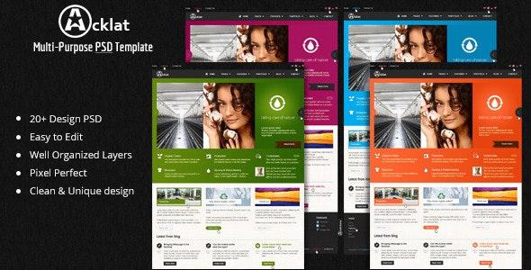 Ackat Premium Multipurpose PSD Theme - Portfolio Creative