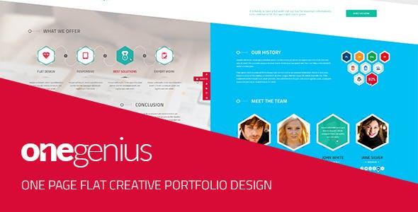 OneGenius - One Page Flat Portfolio PSD Template