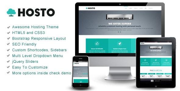 Hosto – Bootstrap Responsive HTML Template - Hosting Technology