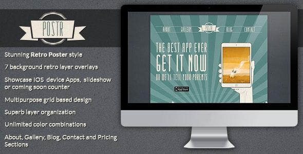 Postr - Retro OnePage Creative Poster PSD Template - Portfolio Creative