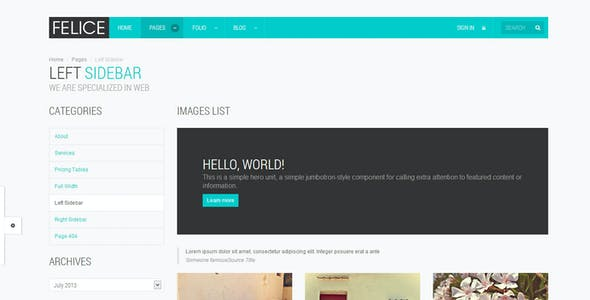 Felice - OnePage - Multipage - Bootstrap Template