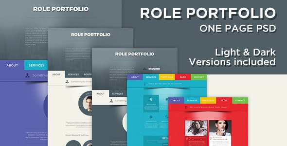 Role - Colorful One Page PSD - Creative Photoshop