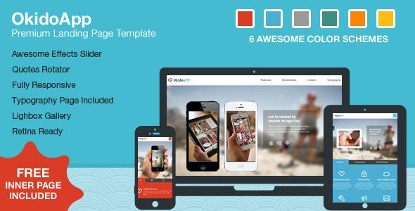 OkidoApp - Responsive, Retina Ready Landing Page - Business Corporate