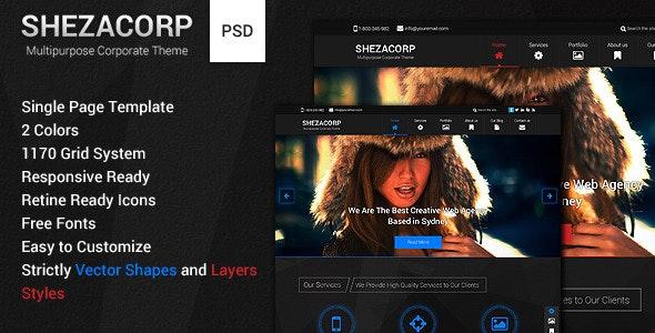 SHEZACORP - Single Page Multipurpose Theme - Photoshop UI Templates