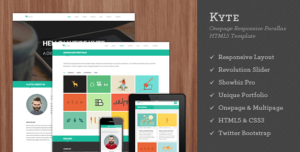 Kyte - Flat Onepage Responsive HTML5 Template - Creative Site Templates
