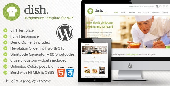 Dish Restaurant Multipurpose WordPress Theme - Restaurants & Cafes Entertainment