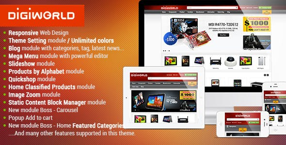 Premium Responsive OpenCart Theme - Digital World by kalathemes