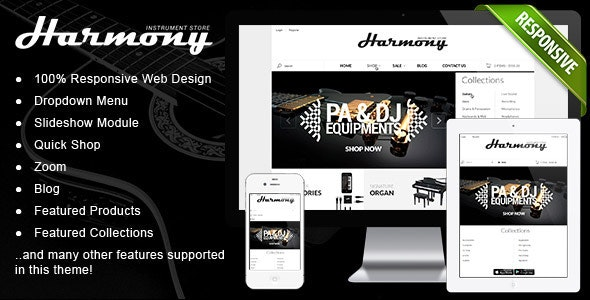 Responsive Shopify Theme - Instruments Design - Entertainment Shopify