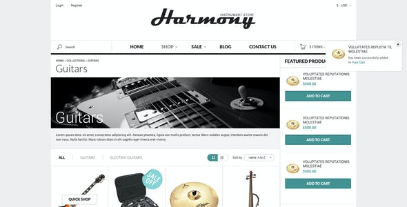 Responsive Shopify Theme - Instruments Design