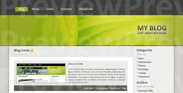 Blog Theme green - Personal Photoshop