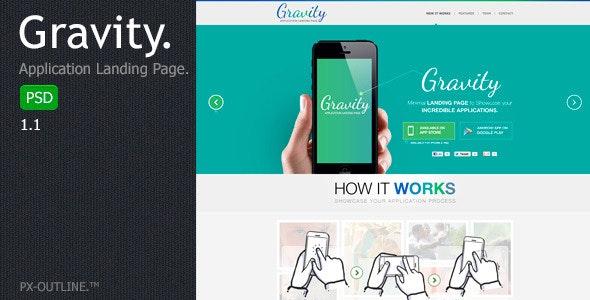 Gravity - Mobile App Landing Page (PSD) - Corporate Photoshop