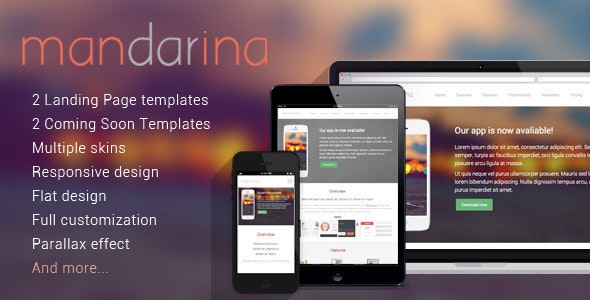 Mandarina, 4 in 1 Responsive Landing Page Template - Landing Pages Marketing