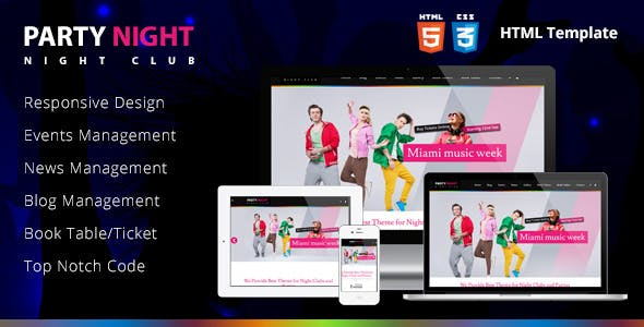 Party Night - Night Club HTML Template