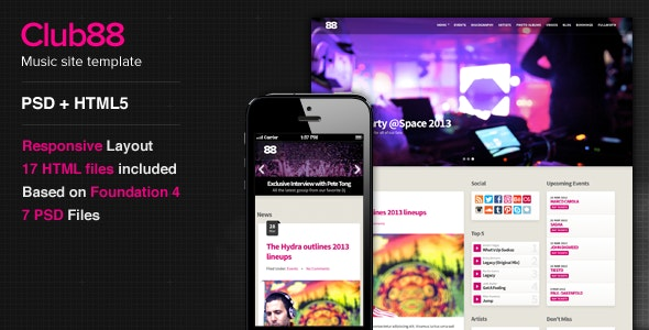 Club88 - Premium Music Site Template - Music and Bands Entertainment