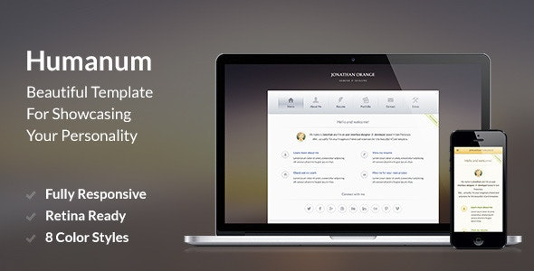 Humanum – Responsive vCard Template - Virtual Business Card Personal