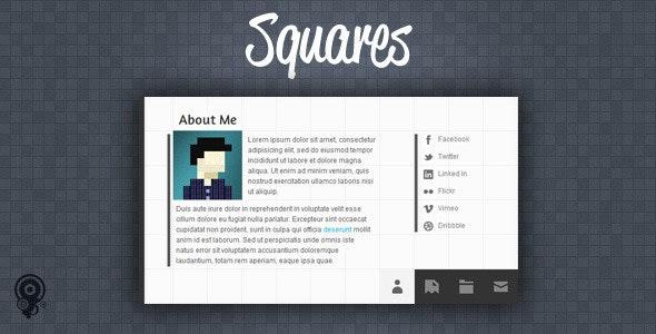 Squares - HTML5 vCard/Portfolio Template - Virtual Business Card Personal