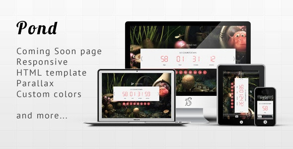 Pond - Responsive Minimalist Coming Soon Template - Under Construction Specialty Pages